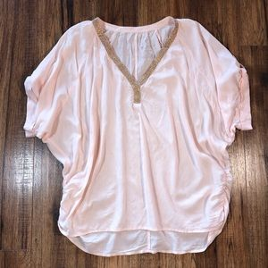 Juicy Couture Blush Pink & Rose Gold V-neck Top L
